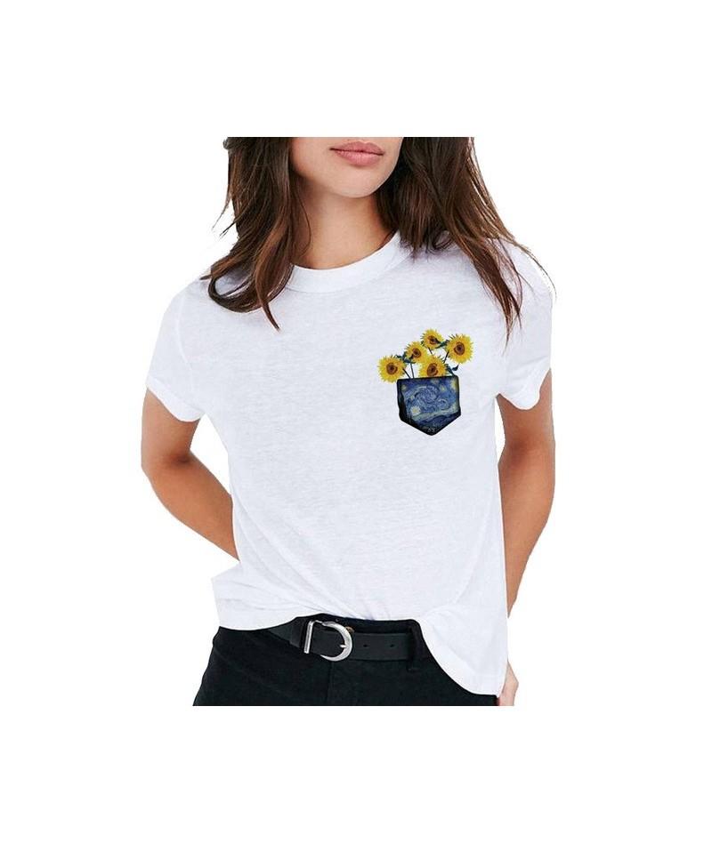 Van Gogh Art t shirt women top Oil Print t-shirt female new streetwear 2019 Casual tshirt graphic tee shirts Harajuku Femme ...