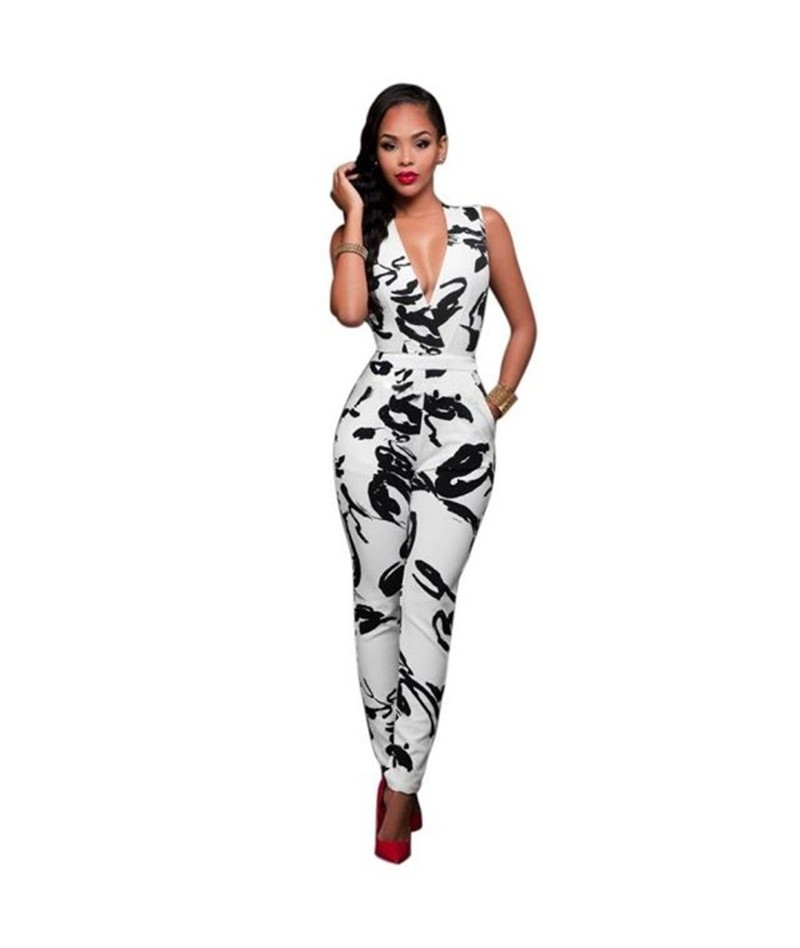 2019 Women Ladies Clubwear Summer V Neck Playsuit Floral Print Bodycon Party Jumpsuit Romper Trousers - 4Q3005927818