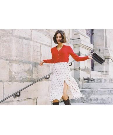 2019 New Cherry Print High Waist Fresh Midi Skirt Chic Wrap Jupe Skirt Women French - as show picture - 4E4171769377