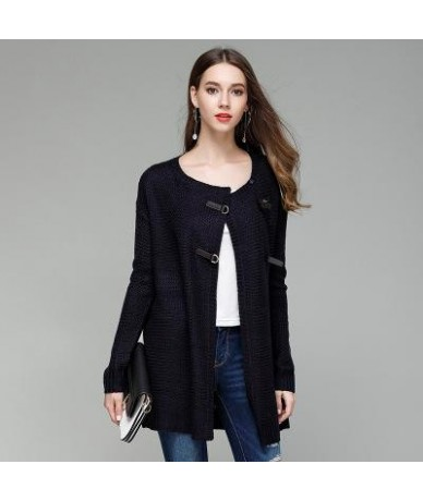 Autumn Fashion Knitted O Neck Solid Color Single Breasted Long Sleeve Women Cardigans - dark blue - 4E3920004119