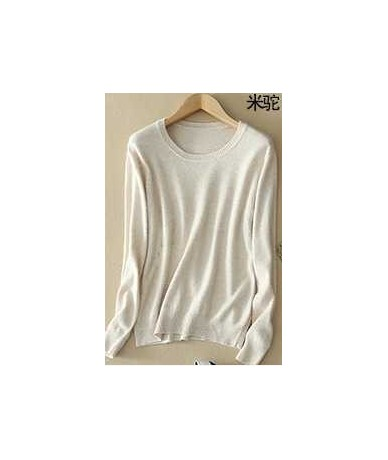 Sweater female women's knitted cashmere sweater slim o-neck sweater short design plus size pullover basic shirt - O beige - ...