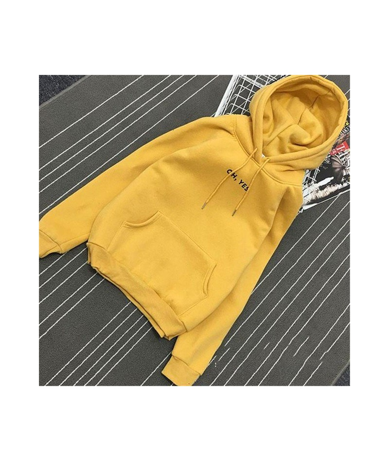 Autumn Winter Fleece Oh Yes Letter Harajuku Print Pullover Thick Loose Women Hoodies Sweatshirt Female Casual Coat - Yellow ...