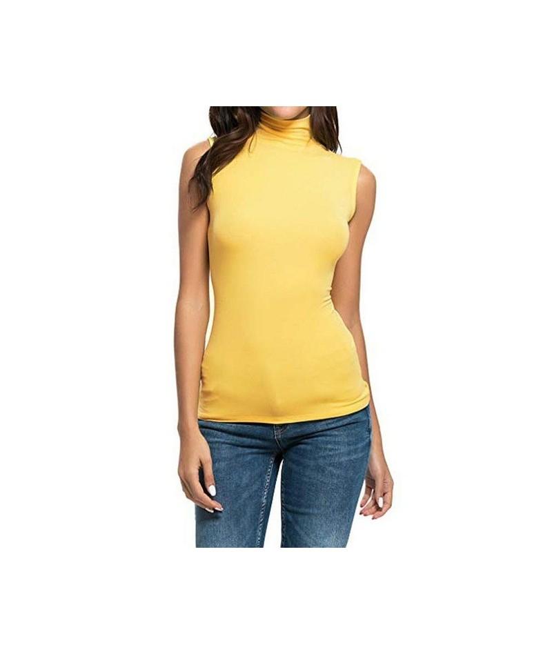 Fashion Women's Round Neck Sleeveless Vest Tank Tops Casual Slim Tight High Collar Stretch Comfortable Women's Shirt T-shirt...