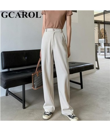 2019 Fall Winter Women OL Suit Pants High Waist Suit Fabric Wide Leg Pants Elastic Waist Drape Full Length Trousers - Beige ...