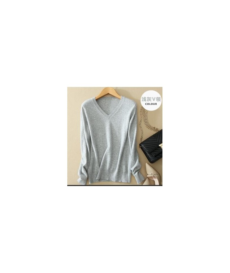 Sweater V-Neck Women Fashion Autumn Cashmere Wool Knit Sweater V-Neck Solid Slim Sexy Pullovers Coat Female Blouse Knit Swea...