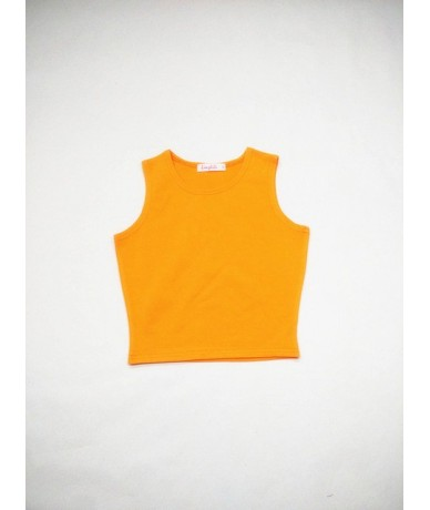 2019 New Summer Style Women Cotton Tank Top for Ladies Multicolor Casual Tops Sleeveless Crop Tank Top Camisole - Orange - 4...