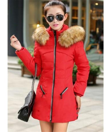 Plus size M-7XL Winter Parkas Women 2018 New Cotton Jacket Fur collar Hoodies Warm Top Slim Female Large size Down cotton Co...