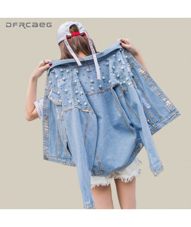 Vintage Blue Women Basic Denim Jacket With Pearls Beading 2018 Autumn Long Sleeve Oversized Jeans Coats Loose Female Top Out...