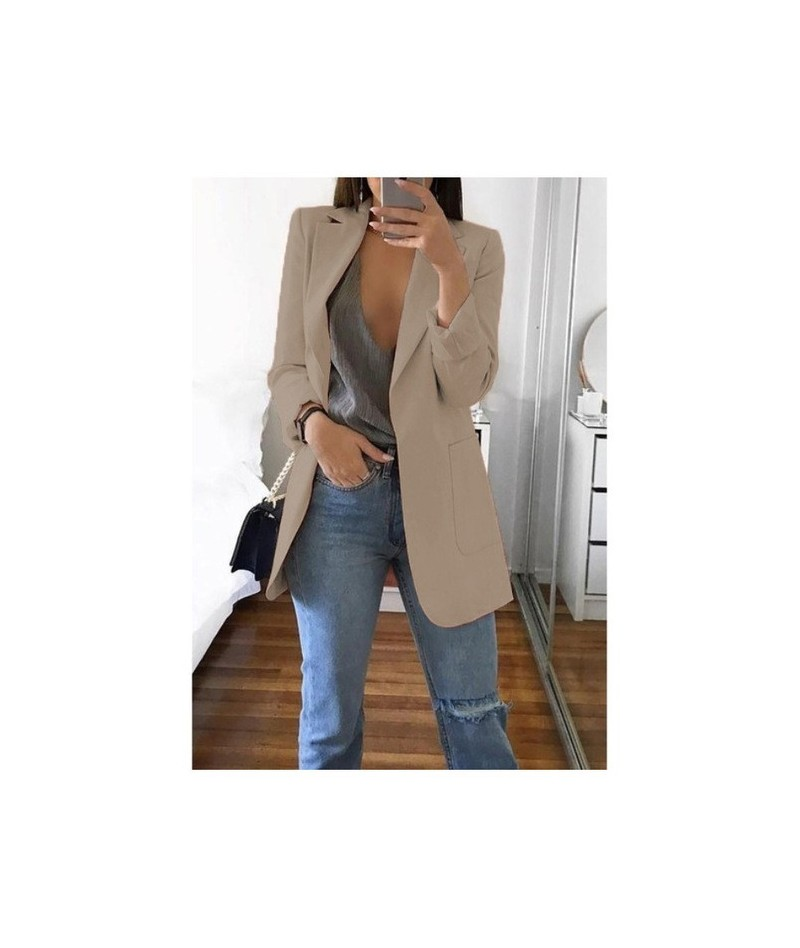 New Women Suit Solid Casual Notched Collar Female Office Suit Autumn 2019 High Quality Coat Tops - Khaki - 57111186452670-10