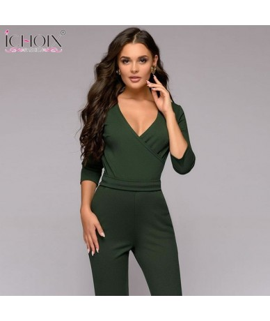 2019 green long sleeve spring jumpsuit women Overal Rompers v neck sexy jumpsuit long slim solid jumpsuit pants Bodysuit - g...