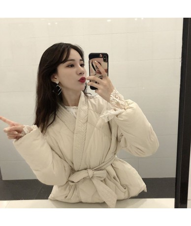 2019 New Design Female Women Winter Solid Sashes Coat Thick High Quality Students Outwear Sweet Women Plus Size - Apricot - ...