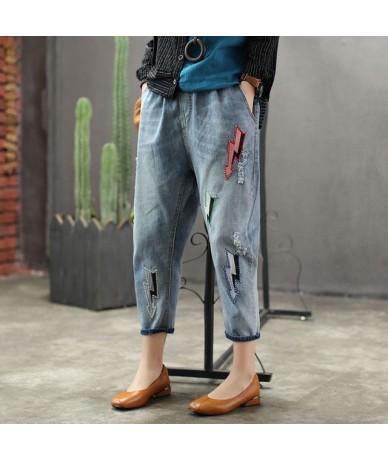 Mori Girl Style 2019 Women Stretch Elastic Waist Blue Jeans Female Denim Embroidery Pants Trousers Patchwork Plus Size - Blu...