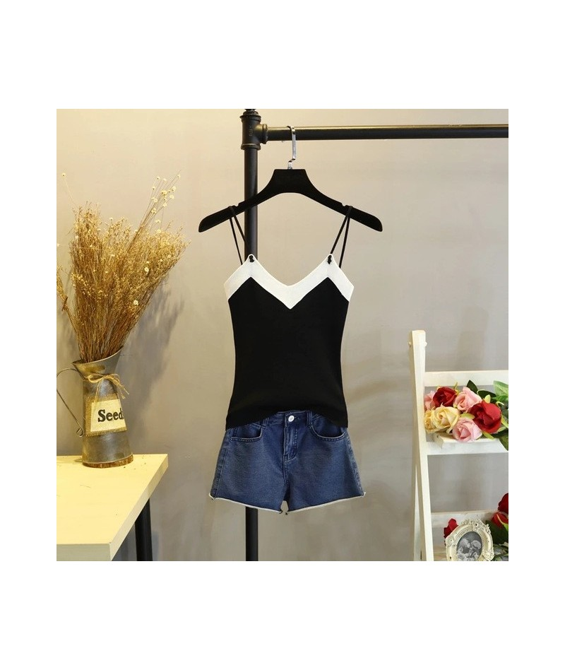 Top Women Camis Knitted Crop Top Women Camisole 2018 Summer Style Sexy Sleeveless Vest Slim Tank tops - black - 493013664451-2