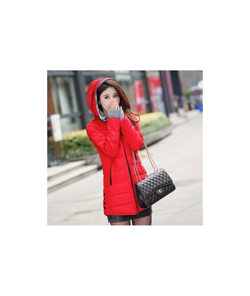 Cheap wholesale 2017 Autumn winter slim down cotton Jacket female medium-long thickening with a hood women's gloves wadded C...