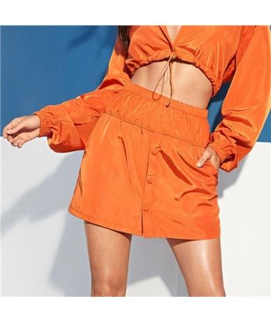 Button Front Slant Pocket Neon Orange Skirt 2019 Fashion Summer Mini Skirts Women Mid Waist Athleisure Short Skirt - Orange ...