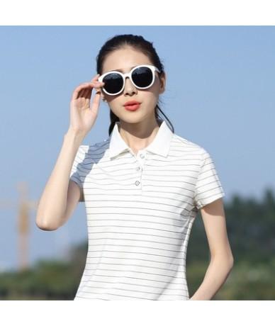 2019 New Summer Casual Women Polos Striped Slim Fashion Short Sleeve T Mujer Polos Femme Plus Size 5XL L0521 - white - 4U398...