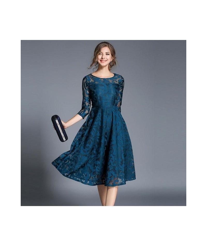 New 2018 Spring Fashion England Style Luxury Elegant Slim Ladies Party Dress Women Casual Lace Dresses Vestidos M107 - Blue ...