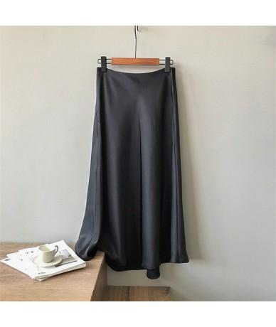 Vintage Summer Satin Skirt 2019 Long High Waist Midi Skirt For Women's A-Line Elegant Autumn Woman Fishtail Skirts 0320 - Bl...