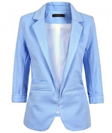 Spring Fashion Women 9 Colors Slim Fit Blazer Jackets Notched Three Quarter Sleeve Blazer Women Coat - Sky Blue - 4J3804417...