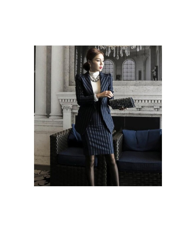 Work Fashion Dress Suits 2 Piece Sets Single Breasted Stripe Blazer Jacket & Straight Dress Office Lady Suit Women Outfits 2...