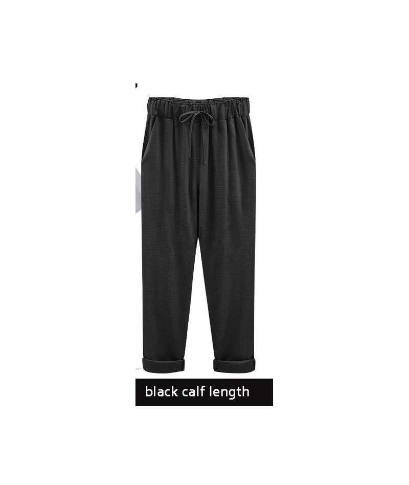 Harem pants capris women 2018 summer style high waist loose candy color cotton linen pants female trousers Plus size M-6XL -...