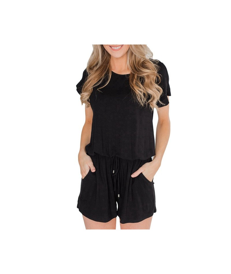Casual Striped Drawstring Rompers Short Sleeve O-Neck Playsuits Women Summer Pockets Loose Short Jumpsuit Female Plus Size -...