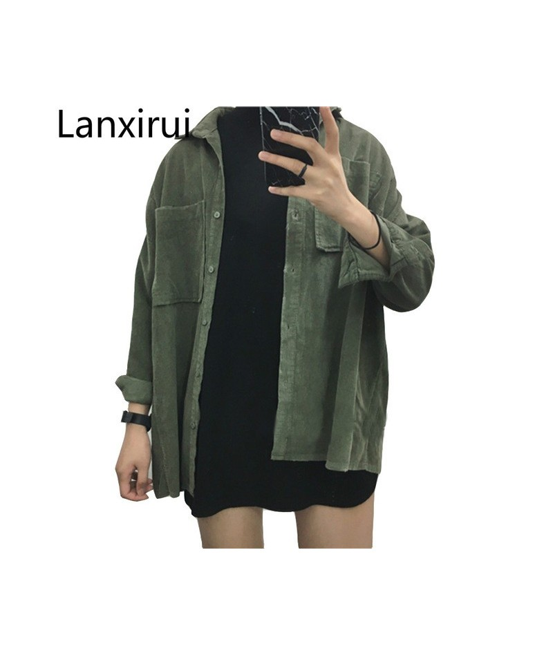 Fashion Women New Corduroy Turn-down Collar Females Cotton Loose Womens Solid Color Overcoat Wind Jacket Ladies Female Jacke...