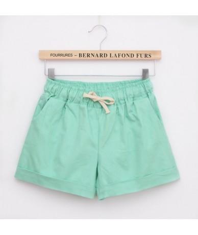 Women Summer High Waist Casual Shorts Slim Fit Elastic Waist Drawstring Cotton Short Feminino Candy Colors - Green - 4T39591...