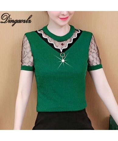 2019 new mesh stitching lady office shirt elegant female short sleeve casual tops fashion women blouse plus size - green - 4...