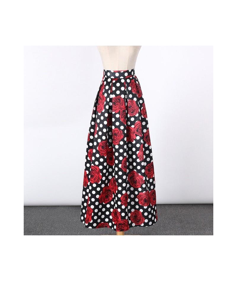 2017 New Satin Women 100cm High Waist Flared Maxi Skirts Peach Blossom Printed Pleated Floor Length Long Skirts Saias SP041 ...