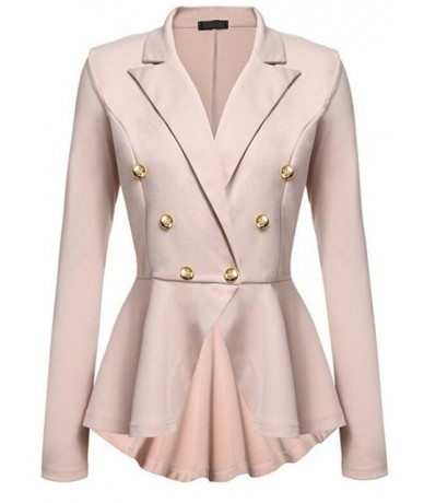 Women's jacket 2019 summer new temperament slim folds long sleeves thin double-breasted small suit blazer women nine colors ...