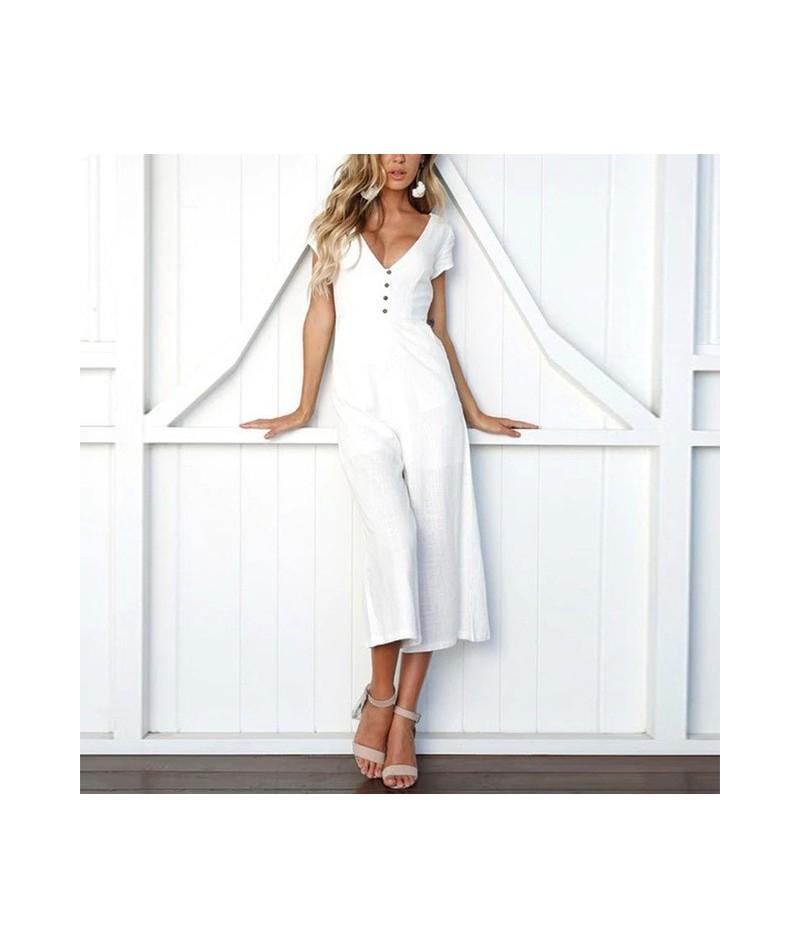 Sexy Short Sleeve Jumpsuit Women V neck Long Romper Summer Loose Wide Leg Trousers Black Bodysuit Beach Solid Playsuit overa...