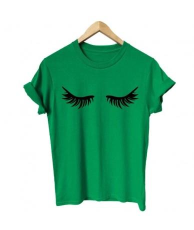 Fashion harajuku Summer Women T Shirt Eyelashes Makeup Lashes Mascara Funny Tee Fashion Brunch Shirt Unisex Gift T-shirt - g...