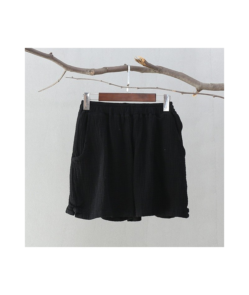 Casual Shorts 2019 New Summer Women Cotton Linen Thin Comfortably Soft Breathable Solid Loose Pockets Brief Shorts - Black -...