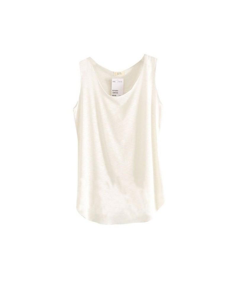 Women's U-Neck Beach Vest Summer Loose Bamboo Cotton Tank T-Shirt for Women Top Tees - White - 4N3845121610-9