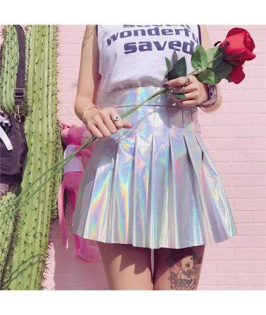 Holographic Pleated Skirts Women PU Solid Harajuku Casual Sexy Laser Hight Waist Mini Short Skirt Women Rainbow - bz - 4X308...