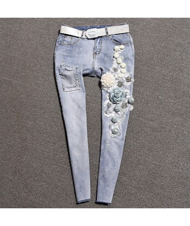 Women's Pencil Jeans 3D Flower Vintage Skinny Trousers Ripped Distressed Fashion Elastic Stretch Blue Trousers High Street -...