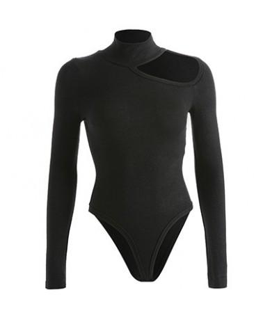 Sexy Hollow Out Stretch Cotton Turtleneck Warm Bodysuit Women 2019 Fall Winter Long Sleeve Open Crotch Bodysuit Black - Blac...