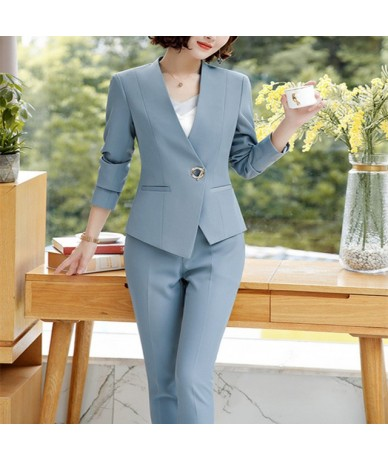 Women's casual suit spring new fashion Korean version of business suit slim cargo pants two sets - Gray - 4B3001204024-3