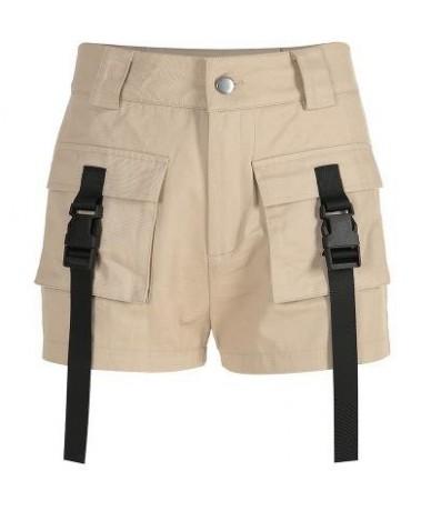 Summer 2019 Woman Elegant Short Pants High Waist Shorts Women Casual Harajuku Ladies Shorts Cotton - no belt khaki - 4030972...