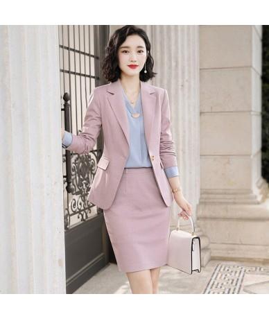 New Style pink pant suit women office Uniform Design Elegant Business two piece korean female trouser suit big size blue - p...