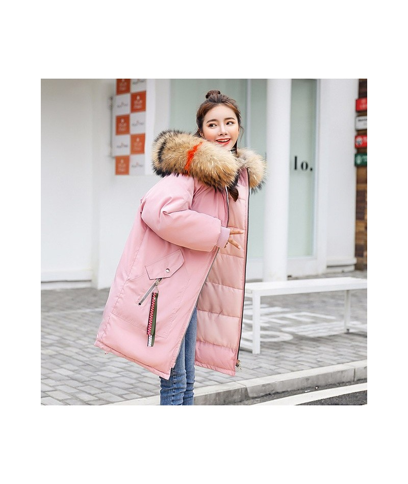 Women's Long Coat Warm Big Fur Collar Hood Down Cotton Coat 2019 Winter Female Loose Crane Embroidery Jacket MY330 - Pink co...