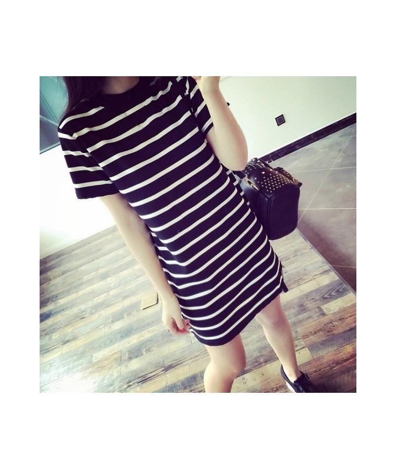 Summer Fashion Women Striped Round Neck Mini Dress Female Casual Short Sleeve Dress - Black - 4I3921130801-1