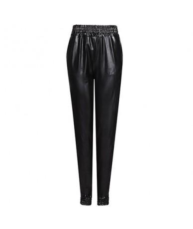 Black Pu Leather Pants for Women Streetwear Harem Faux Leather Pants Casual Stretch Women's Leather Trousers - Black - 4X308...