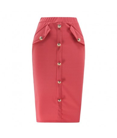 Women Solid Color Skirt 2019 Autumn Winter High Waist Button Bodycon Skirt Female Business Chic Office Lady Thin Skirts - Re...