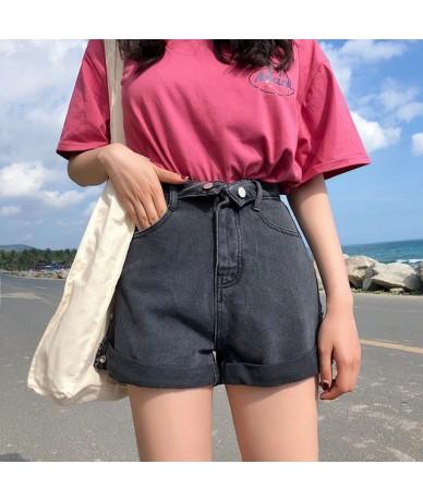 Casual Women Denim Shorts High Streetwear Pockets Female Denim Jeans Shorts 2019 Summer High Waist Wide Leg Hot Shorts - bla...