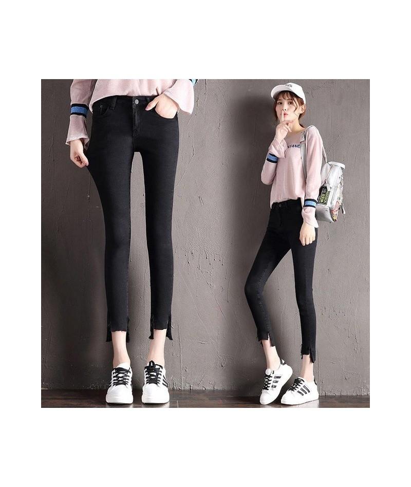 Korean Style Women Jean Pants Fashion Casual Slim Fit Bodycon Femme Blusas Zipper Fly Pocket Denim Pencil Trousers Ripped Ne...
