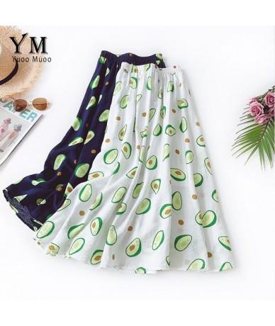 Cute Fruit Print Midi Skirt Women A Line Cotton and Linen Skirt 2019 Summer Ins Hot Ladies High Waist Pleated Skirt - White ...