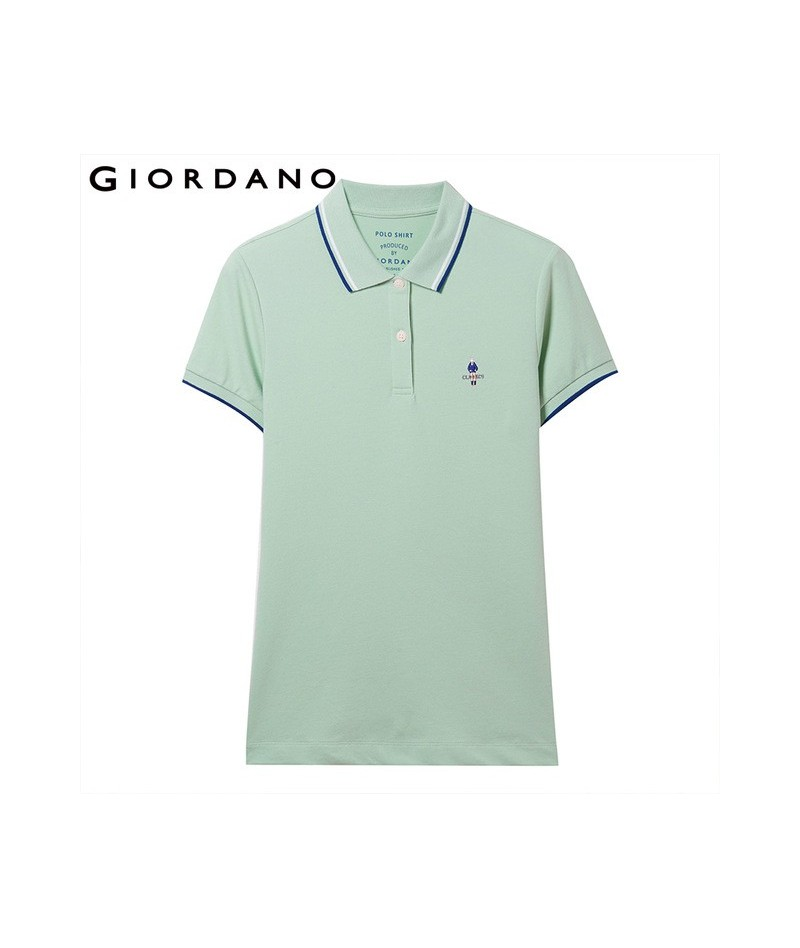 Women Polo Shirt Slim Fit Polos Women Contrast Color Embroidered Pattern Summer Tops Female Stretchy Polo Femme - 30Green - ...