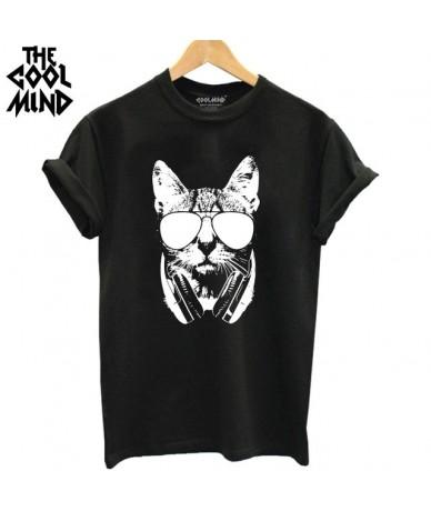 100% cotton cat print women T shirt casual short sleeve Tshirt female o-neck loose women t-shirt tops tee shirt - CA0211B-BL...